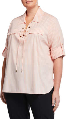 Calvin Klein Plus Size Striped Lace-Front Tunic