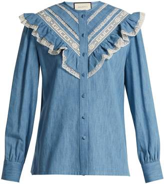 Gucci Lace-trimmed ruffle cotton-chambray blouse