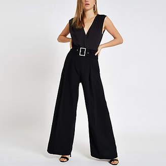 River Island Black wrap front sleeveless bodysuit