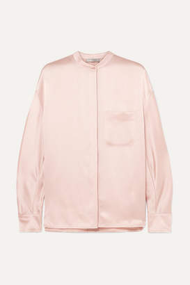 fdb7388f Vince Collarless Silk-satin Blouse - Pastel pink