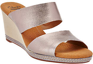 Clarks Leather Double Band Slide Wedge Sandals- Helio Lily