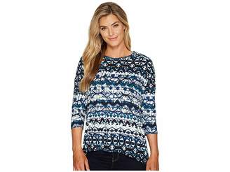 Tribal 3/4 Sleeve Scoop Neck Printed Suede Knit Top Women's Long Sleeve Pullover