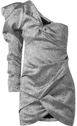 Isabel Marant Lexine One-shoulder Lamé Mini Dress - Silver