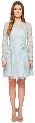 ML Monique Lhuillier Long Sleeve Lace Tie Waist Dress Women's Dress