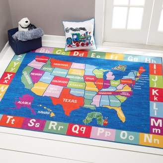 Eric Carle US Map with Alphabet Educational Blue Area Rug Rug