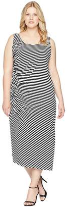 Vince Camuto Specialty Size Plus Size Sleeveless Side Ruched Amalfi Stripe Dress Women's Dress