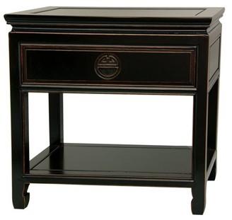 Oriental Furniture Rosewood Bedside Table, Antique Black