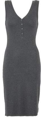 L'Agence Button-Detailed Stretch Ribbed-Knit Dress