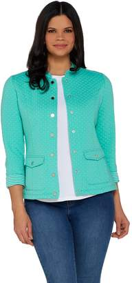 Isaac Mizrahi Live! Button Front Double Knit Field Jacket
