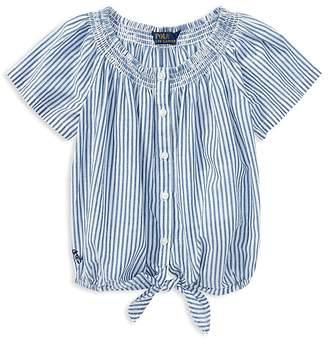 Polo Ralph Lauren Girls' Striped Tie-Front Top - Little Kid
