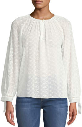 6a5ed987edb97a Rebecca Taylor Eyelet-Lace Tie-Cuff Blouse