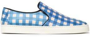 Diane von Furstenberg Gingham Leather Slip-On Sneakers