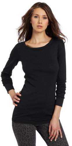 Michael Stars Women's Long-Sleeve Raw-Edge Banded Crew-Neck T-Shirt
