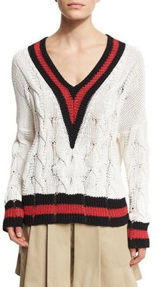 Rag & Bone Emma Varsity-Stripe Cable Knit Sweater, White/Red/Black $450 thestylecure.com