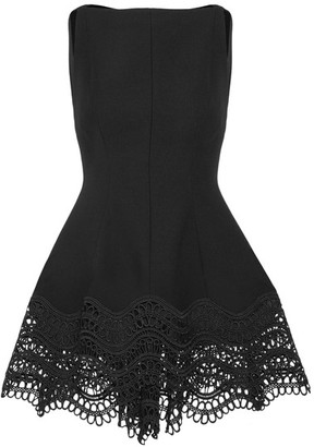 Lela Rose - Guipure Lace-trimmed Stretch Wool-blend Top - Black $995 thestylecure.com