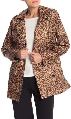 Capelli of New York Short Leopard Printed Double Breasted Rain Coat