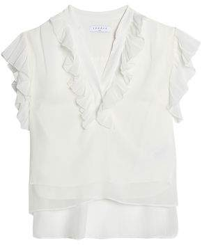Sandro Ruffle-Trimmed Georgette Top