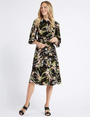 Marks and Spencer Floral Jacquard 3/4 Sleeve Skater Midi Dress