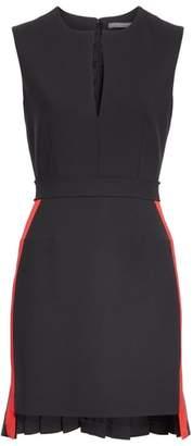 Alexander McQueen Pleated High/Low Hem Stretch Wool Dress