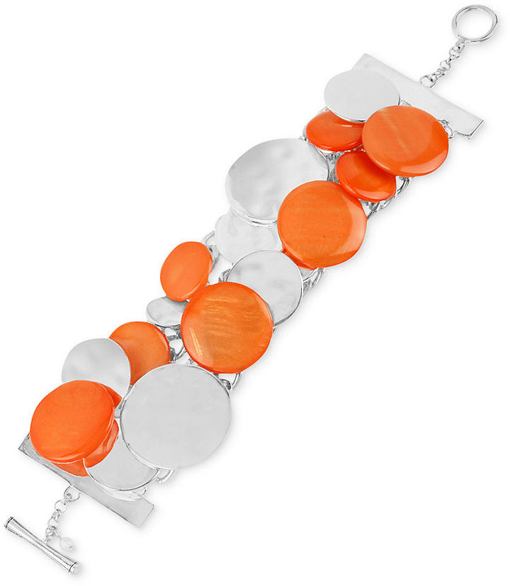 Kenneth Cole New York Bracelet, Silver-Tone Coral Shell Circle Toggle Bracelet