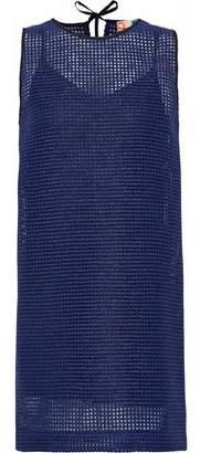 MSGM Metallic Open-Knit Mini Dress