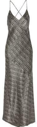 L'Agence Romy Draped Silk-Satin Maxi Dress