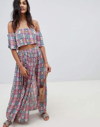 Asos Design DESIGN beach two-piece maxi skirt in mosaic tile