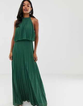 Asos Design DESIGN halter tie neck maxi dress in pleat
