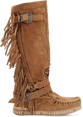 EL VAQUERO 70mm Justine Fringed Suede Boots