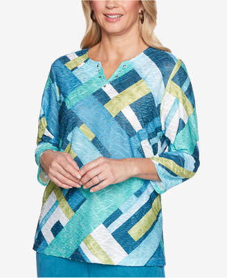 Alfred Dunner Petite Victoria Falls Colorblocked 3/4-Sleeve Top