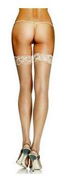 Leg Avenue Women's Plus Size Sheer Thigh High Stockings with Back Seam and Silicone Lace Top, Nude