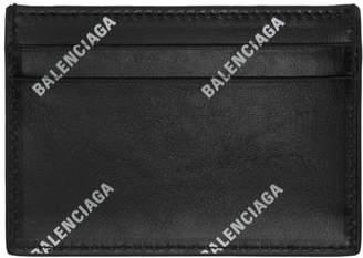 Balenciaga Black Allover Logo Card Holder