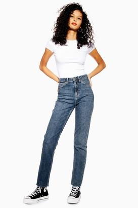Topshop Womens Tall Mid Blue Raw Hem Straight Jeans - Mid Stone