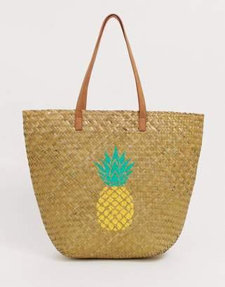 South Beach pineapple print tote bag