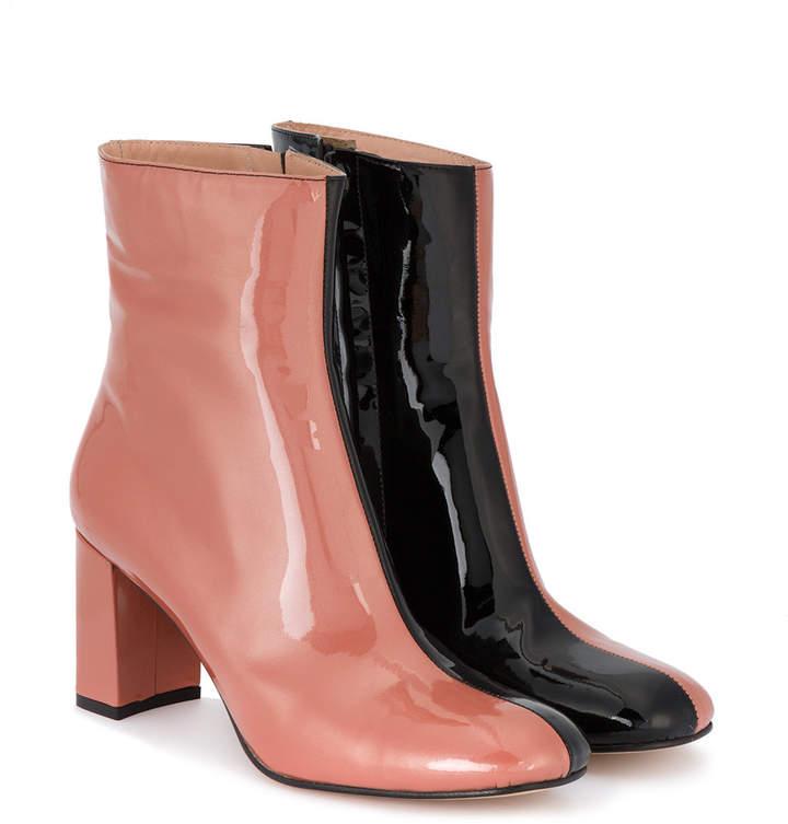 Maryam Nassir Zadeh Pink & Black Patent Agnes 80 boots