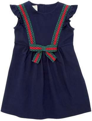 Gucci Cotton Piqué Dress W/ Web Lace Details