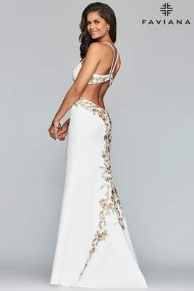 Faviana White Embroidered Gown