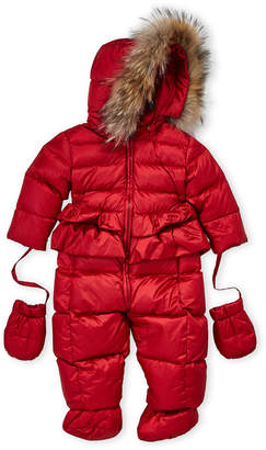 ADD Newborn/Infant Girls) Real Fur Trim Hooded Snowsuit