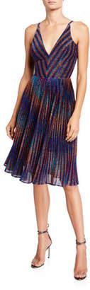 Dress the Population Haley Metallic Striped V-Neck Sleeveless Pleated Dress