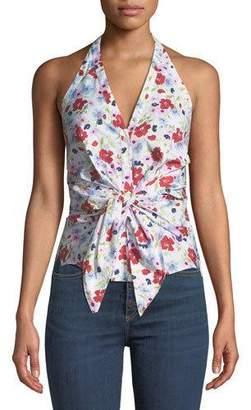 Veronica Beard Vea Floral Tie-Front Halter Top
