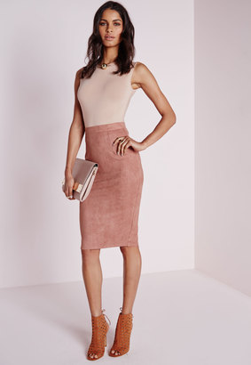 Faux Suede Midi skirt Pink $30.60 thestylecure.com