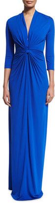 Shoshanna 3/4-Sleeve Twist-Front Column Gown, Azure $475 thestylecure.com