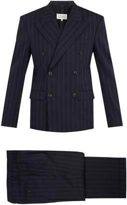 Maison Margiela Double-breasted striped wool-blend suit