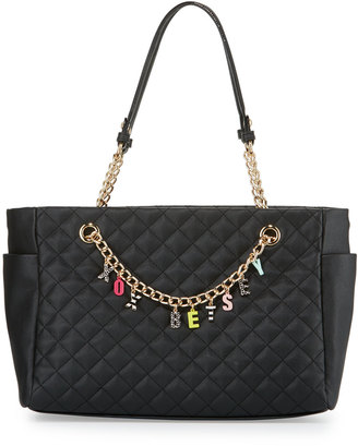 Betsey Johnson Give Me A B Quilted Satchel Bag, Black $95 thestylecure.com