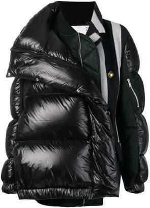 Sacai mixed fabric puffer jacket