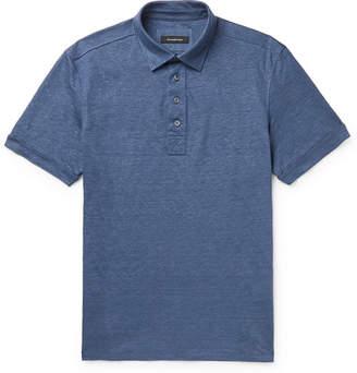 Ermenegildo Zegna Melange Linen Polo Shirt - Men - Blue