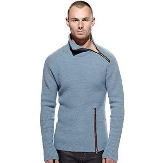 Calle Dejenos Jugar Men's Combed Wool Asymmetric Zip Sweater