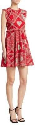 RED Valentino Heart-Print Crepe Dress