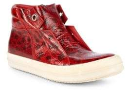Rick Owens Printed Leather High-Top Platform Sneakers