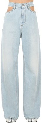 Maison Margiela Cutout Cotton Denim Wide Leg Jeans